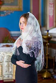 """Православный платок женский на голову для церкви ажурный  """"Незабудка"""" бежевого цвета"""