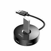 USB хаб концентратор переходник Baseus Round Box HUB Adapter USB2.0 USB3.0 4USB черный