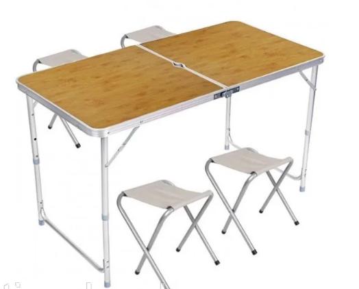 Стіл і стільці Easy Campi 1+4 120х60х70см Світле дерево (складаний, для пікніка)