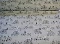 """Ткань для рукоделия """"велосипеды с совами"""" (№ 107)."""