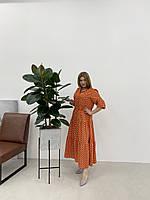 Ошатне плаття в горох кольору таракот укр розміри 46 48 50 52