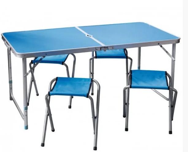 Стіл і стільці Easy Campi 1+4 120х60х70см Синій (складаний, для пікніка)