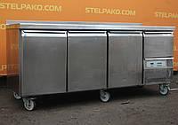 Холодильный стол из нержавеющей стали 186х70х85 см., (Польша), на 4 двери, Б/у