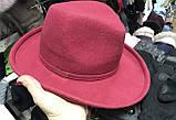 Фетровая молодежная шляпа с формой тулии под мужскую в наличии цвет алый, фото 3