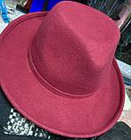 Фетровая молодежная шляпа с формой тулии под мужскую в наличии цвет алый, фото 2
