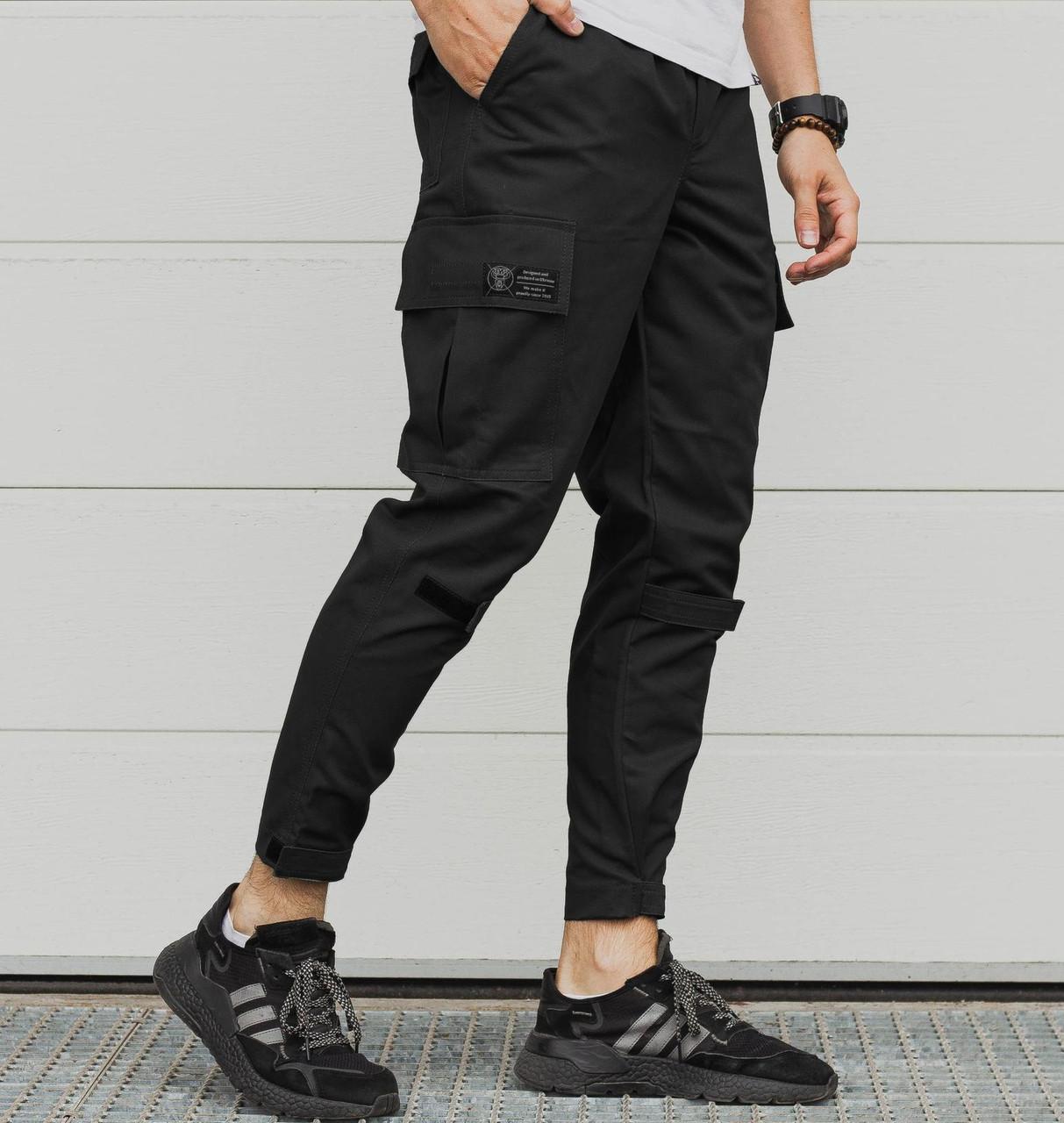 Мужские брюки карго черные | штаны джоггеры мужские весна-осень Турция. Живое фото (Брюки чоловічі)