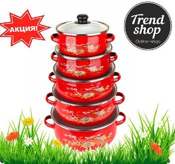 Набір посуду каструлі UNIQUE UN-2356 10 предметів червоний колір
