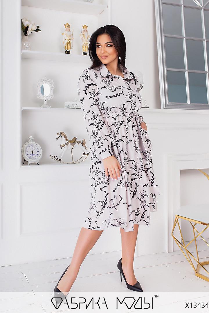 Свободное платье с цветочным принтом с рубашечным воротником в больших размерах (р. 50-64) 1uk2