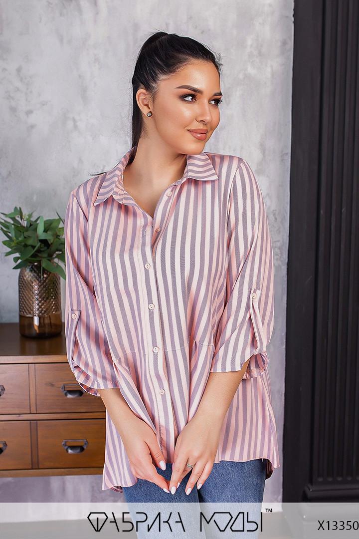Смугаста сорочка подовжена з асиметрією у великих розмірах (р. 50-64) 1uk825