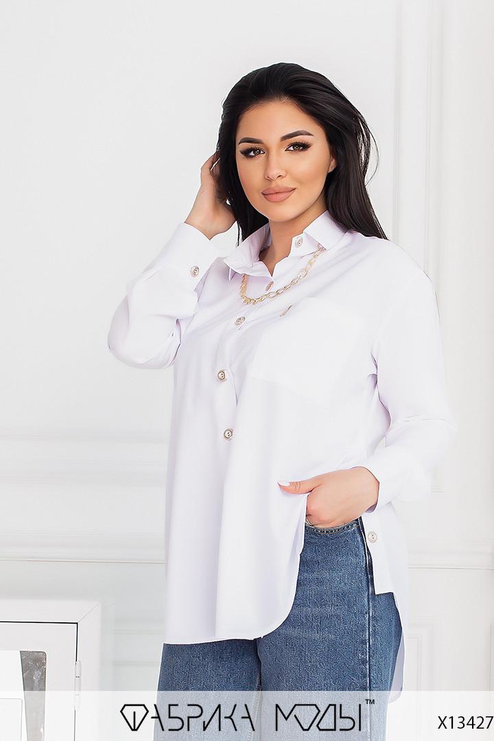 Рубашка - туника с удлиненной спинкой женская трендовая в больших размерах (р. 50-56) 1uk4