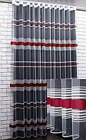 Тюль фатин полосы, цвет белый с бежевым и красным. Код 588т