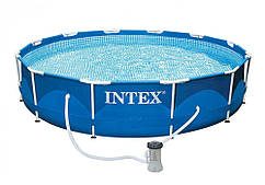 Интекс 28212, каркассный бассейн с металическим каркасом и фильтр-насосом 366см*76см