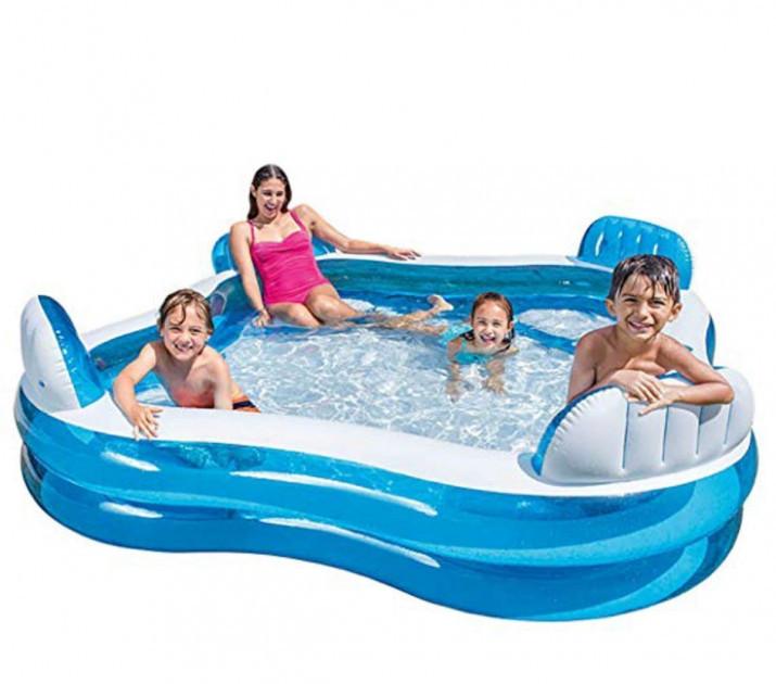 Дитячий надувний відкритий басейн интекс 56475 від 3-х років з ненадувным дном 229 х 66 см об'єм 990 л