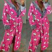 Домашний халат с капюшоном длинный женский с разными принтами (р. 42-46) 51OD4, фото 3