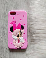 Чехол 3D для iPhone 7 Микки Маус Минни силиконовый розовый