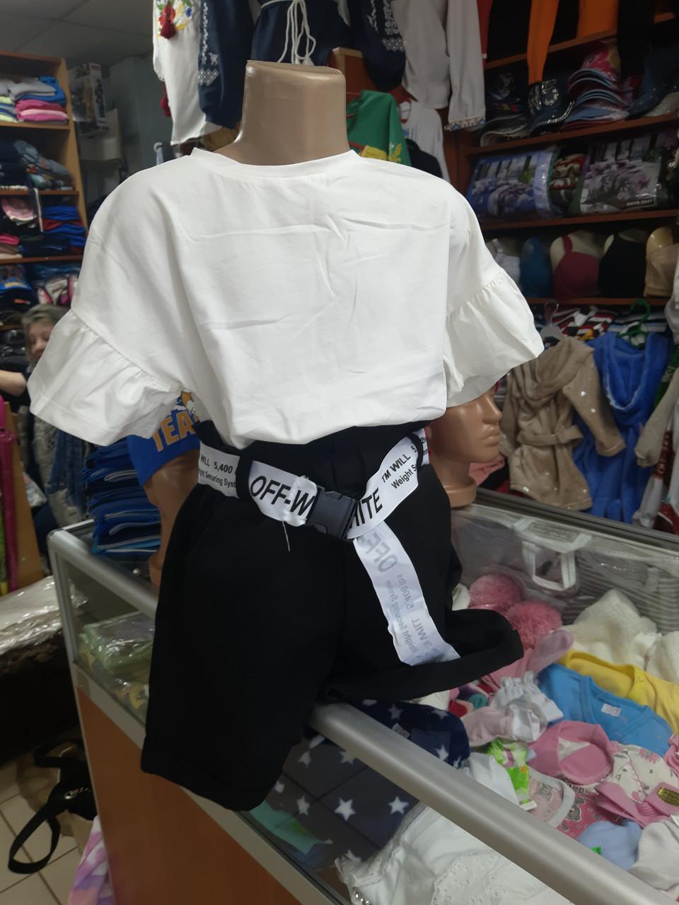 Летний подростковый костюм для девочки с шортами р.134 -158