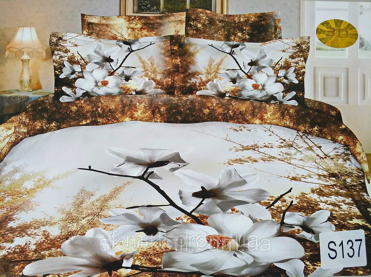 Комплект постельного белья ELWAY (Польша) 3D LUX Сатин Евро Подарочная упаковка (137)