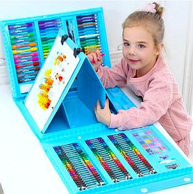 Большой набор для рисования в раскладном чемоданчике с мольбертом 176 предметов Голубой