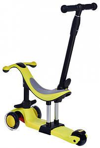 Самокат дитячий триколісний 3 в 1 з сидінням, батьківською ручкою, Самокат Беговел Каталка Maraton Credo New