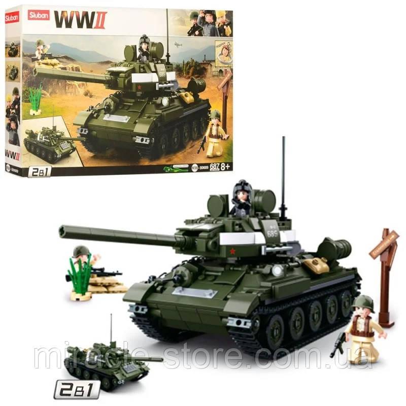 Конструктор SLUBAN Танк 687 деталей 2 в 1