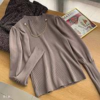 Женская кофта из трикотажа рубчик с рукавами фонариками и цепочкой на шее (р. 42-44) 77mds1115, фото 1