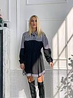 """Комбіноване сукня - сорочка з куліскою на з принтом """"гусяча лапка"""" (р. 42-44) 83mpl2173, фото 1"""