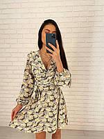 Сукня в квітковий принт трендові легке з поясом короткий і довгим рукавом (р. S - L) 27mpl2175, фото 1