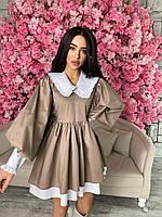 Коттоновое пишне плаття з широкими рукавами-ліхтариками і білим коміром (р. S, M) 71mpl2179, фото 1