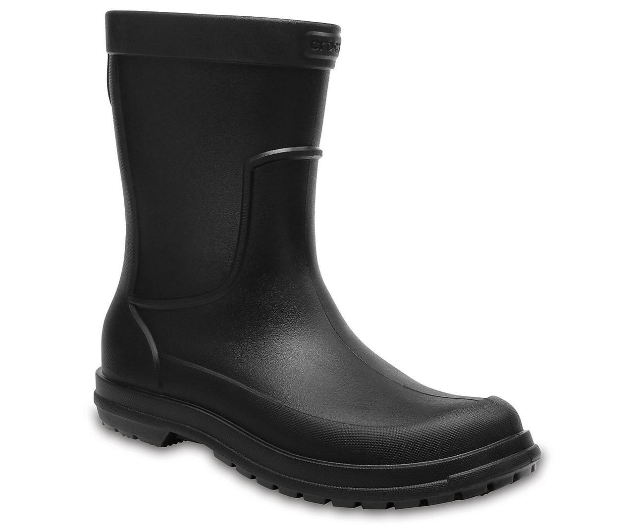 Сапоги резиновые мужские литые / Crocs Men's AllCast Rain Boot (204862), Черные