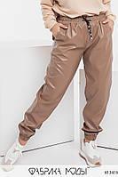 Штани джоггеры з екошкіри жіночі з куліскою на поясі в батальних розмірах (р. 42-56) 1mbr7
