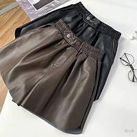 Женские шорты кожаные на флисе с резинкой на талии (р.42-44) 77mqd41, фото 1