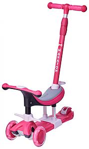 Самокат детский трехколесный 3 в 1 с сиденьем, родительской ручкой, Самокат Беговел Каталка Maraton Credo New