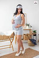 Пижама женская с кружевом топ с шортами летняя хлопковая для кормящих мам р.44-54, фото 1