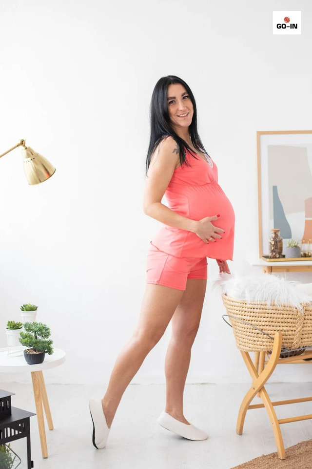 Пижама женская топ с шортами летняя хлопковая для кормящих мам
