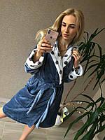 Домашній халат теплий жіночий з капюшоном і красивими принтами (р. 42-46) 51192