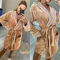 Жіночий домашній халат теплий з капюшоном і поясом трендовий (р. 42-46) 51193