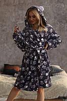 Махровий халат жіночий з вушками на капюшоні з поясом трендовий (р. 42-46) 511910