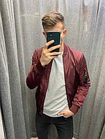 Весенняя мужская куртка бордо бомбер на молнии, легкая модная демисезонная ветровка с карманами Турция