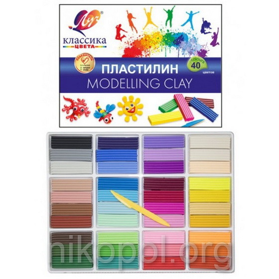 """Пластилін 40 кольорів """"Луч"""" """"Класика"""", 1000 грам (30С1922-08)"""
