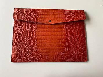 """Кожаный чехол-клатч CaZe для ноутбука 15.6"""" Оранжевый"""