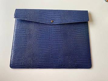 """Кожаный чехол-клатч CaZe для ноутбука 17.3"""" Синий"""