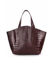Сумка женская кожаная POOLPARTY Fiore Leather Hendbag Caiman шоколадная, фото 1