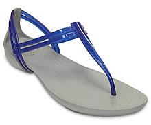 Босоножки женские Кроксы Изабелла Т-Страп оригинал / Crocs Women's Isabella T-Strap Sandal (202467), Синие