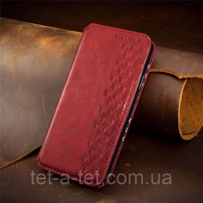 Кожаный чехол-книжка GETMAN Cubic для Xiaomi Redmi 9T Red