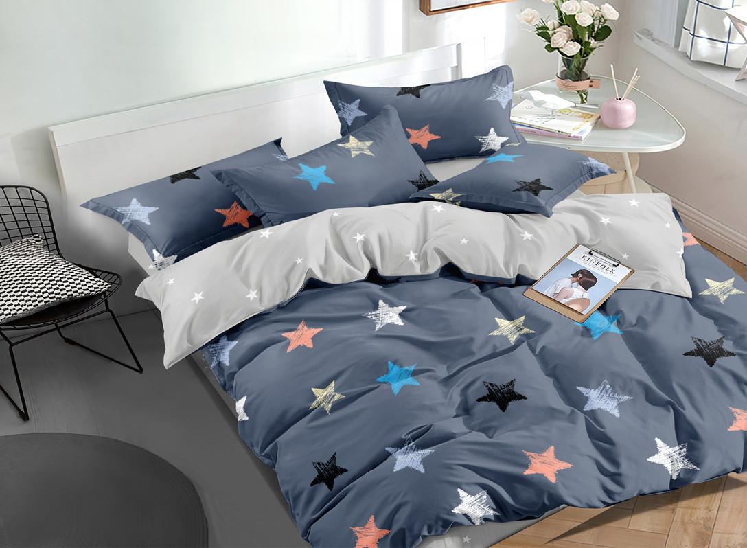 Двуспальный комплект постельного белья евро 200*220 сатин (16708) TM КРИСПОЛ Украина