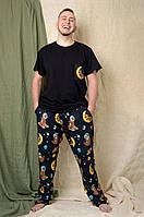 Мужская черная пижама Pijama po fanu брюки+футболка домашний костюм Ленивцы BLACK 46 48 50 52 54 56 58 (S-4XL)