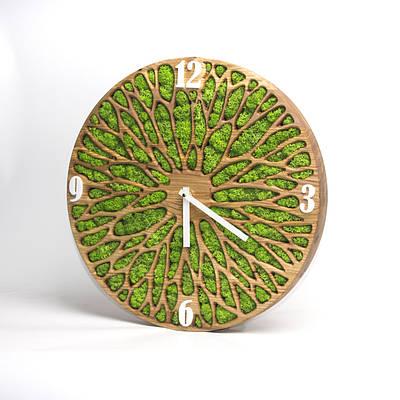 Часы настенные из мхом