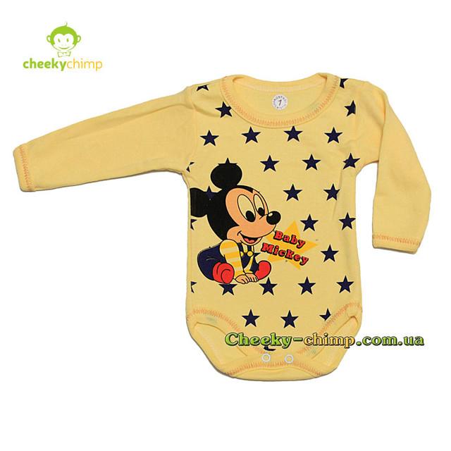Бодик Mickey желтый 3, 6, 9, 12, 18 мес