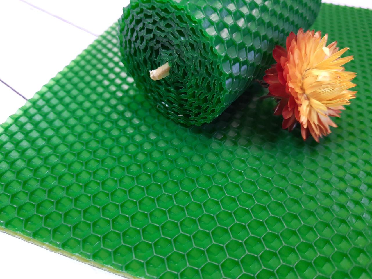 Кольорова вощина для виготовлення свічок, зелений, лист 20х26см