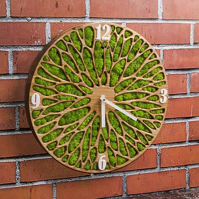 Часы из мхом. Часы настенние. Часы из дерева. Диаметр 35 см